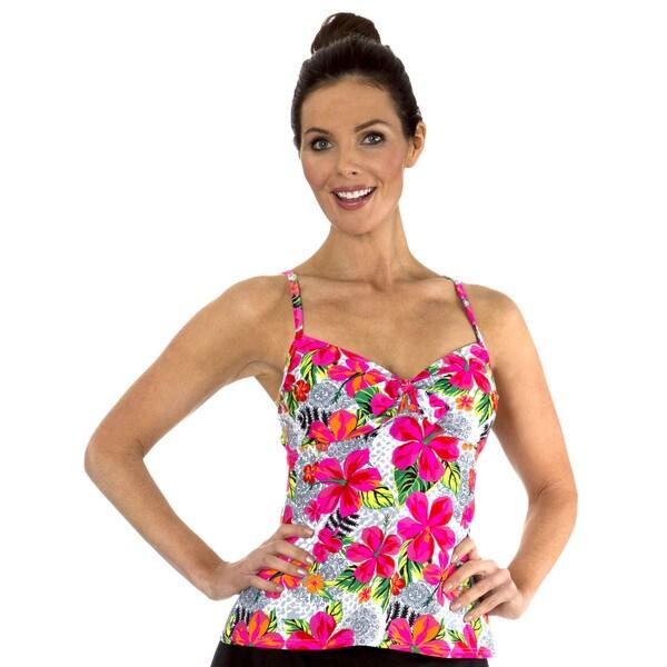 Mazu Swim Textured Fiji Floral Underwire Tie Front Tankini Top