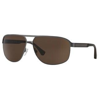 Emporio Armani Men's EA2025 Metal Rectangle Sunglasses