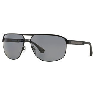 Emporio Armani Men's EA2025 Metal Rectangle Polarized Sunglasses