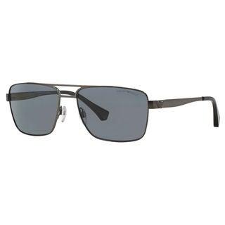 Emporio Armani Men's EA2019 Metal Rectangle Polarized Sunglasses