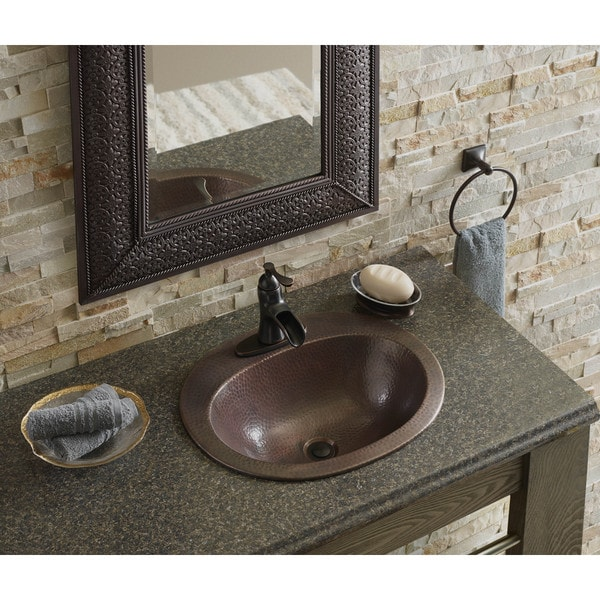 Sinkology Madrid Drop In Copper Bath Sink in Antique Copper with Overflow