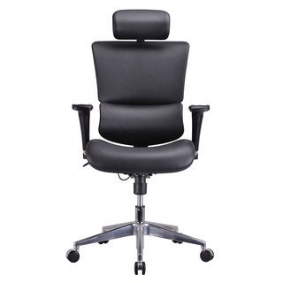 GM Seating Genuine Leather Ergo Dream Executive Human Ergonomic Chair with Headrest Chrome Base