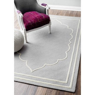 nuLOOM Handmade Abstract Fancy Border Wool Blue/ Grey Rug (7'6 x 9'6)