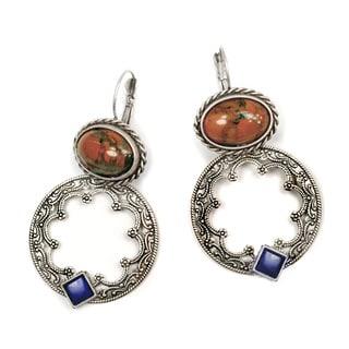 Sweet Romance Jasper and Lapis Hoop Earrings