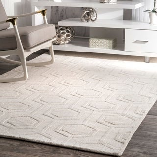 nuLOOM Hand-woven Abstract Fancy Wool Blue/ Grey Rug (7'6 x 9'6)