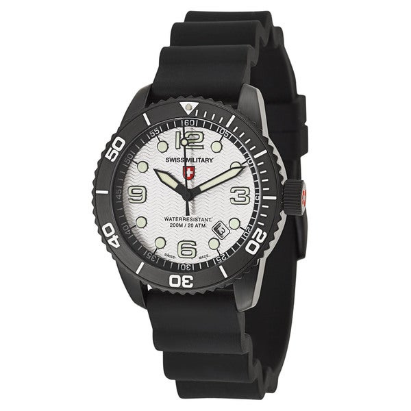Swiss Military Men's 'marlin' Black Stainless Steel Swiss Quartz Watch