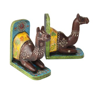 Timbergirl HANDCRAFTED and Handpainted CAMEL BOOKEND PAIR