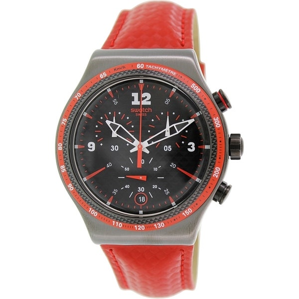 Swatch Men's YVM401 'Irony' Chronograph Red Leather Watch