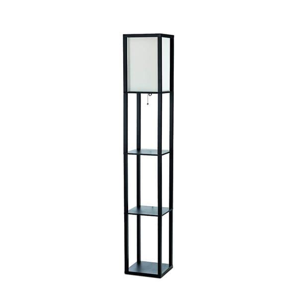 Simple Designs Black Floor Lamp Etagere Organizer Storage Shelf (As Is Item)