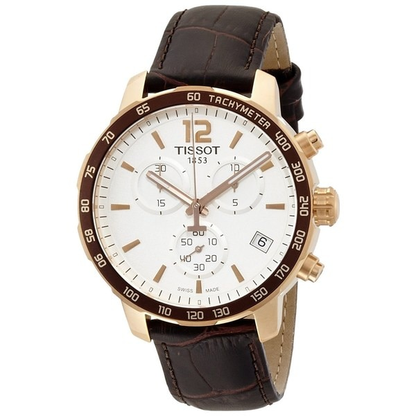 Tissot Men's T0954173603700 'Quickster' Chronograph Brown Leather Watch 15758475