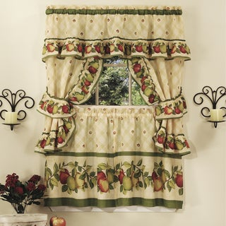Complete Cottage Curtain Set With Country Apples Print and Green Trim