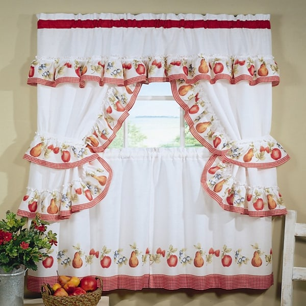 Complete Cottage Curtain Set With a Country Style Assorted Fruit Print and Red Check Trim