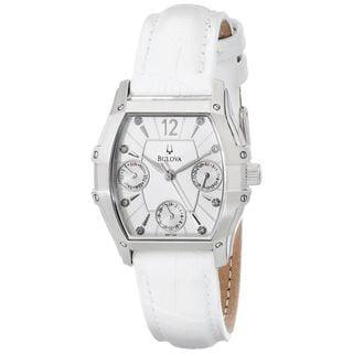 Bulova Women's 96P126 'Wintermoor' Chronograph Crystal White Leather Watch