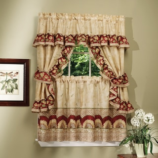 Complete Cottage Curtain Set With a Country Style Sunflower Print