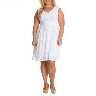 Rabbit Rabbit Rabbit Designs Women's Plus Size White Lace Dress