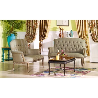 Elizabeth Shabby Chic French Vintage Inspired Classic Oak Wood Beige Linen Fabric And Upholstered Loveseat Seating Bench