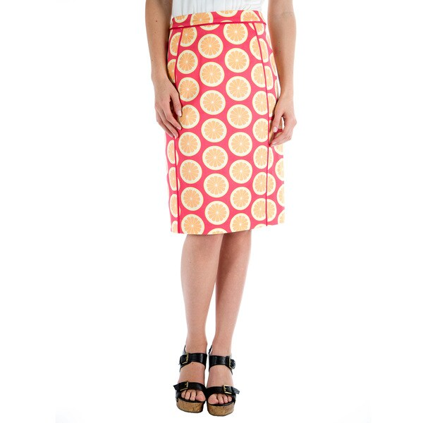 DownEast Basics Women's Lemon Printed Pencil Skirt