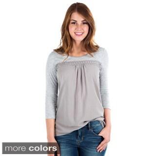 DownEast Basics Women's Mixed Media 3/4 Sleeve Top