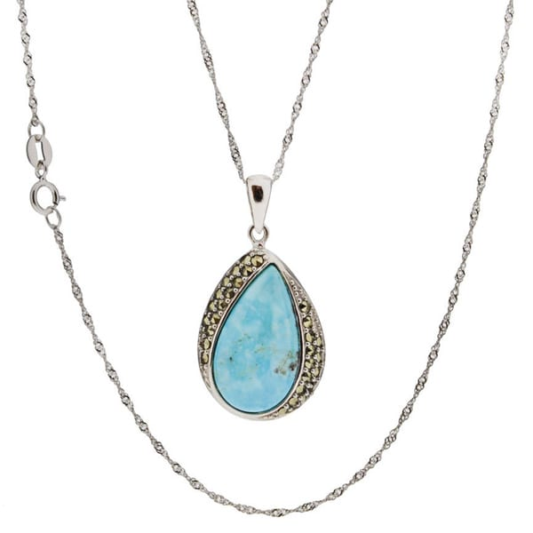 Sterling Silver Turquoise Pendant Necklace (China)