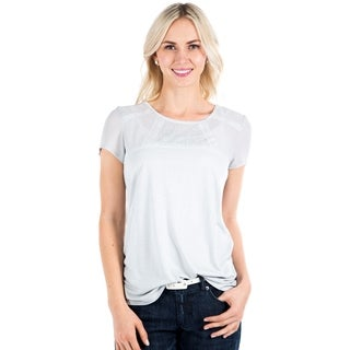 DownEast Basics Women's Short Sleeve Lace Panel Top
