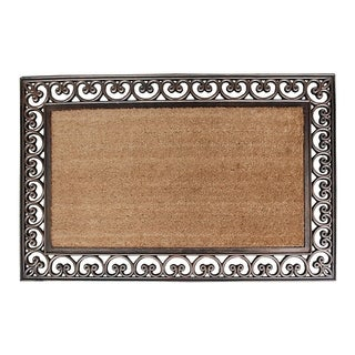 "Rubber And Coir Classic Paisley Border Extra Large Double Doormat, 30""X48"""