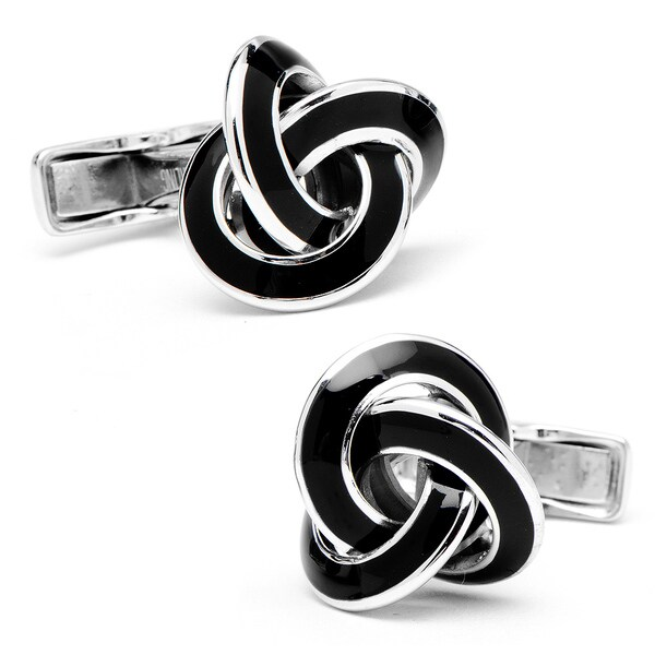 Sterling Black Enamel Knot Cufflinks