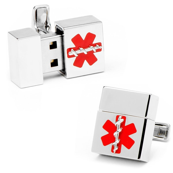 Silver Medical 8GB USB Flash Drive Cufflinks