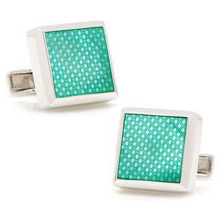 Sterling Green Etched Diamond Mother of Pearl Cufflinks