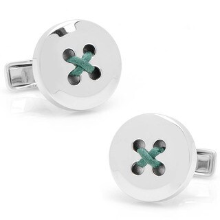 Sterling Silver Button Cufflinks with Hunter Green Thread