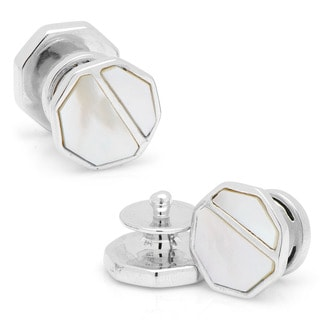 Sterling Vintage Snap Mother of Pearl Octagon Cufflinks