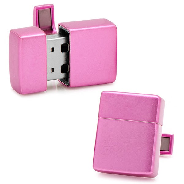 Pink 8GB USB Flash Drive Cufflinks
