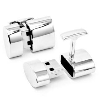 Silver Oval 4GB USB Flash Drive Cufflinks