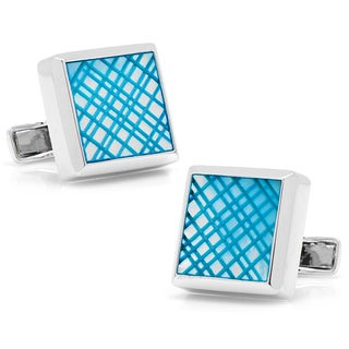 Sterling Blue Etched Plaid Mother of Pearl Cufflinks
