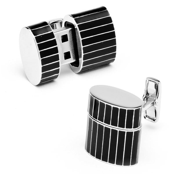 Pinstripe Oval 8GB USB Flash Drive Cufflinks
