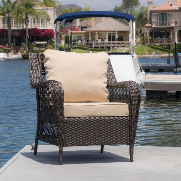 Christopher Knight Home Palermo Outdoor Wicker Armchair with Cushion
