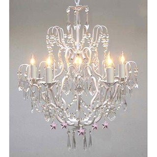 Wrought Iron & Crystal White 5 Light Chandelier Lighting with Pink Crystal Stars - Perfect for Kid's Rooms !