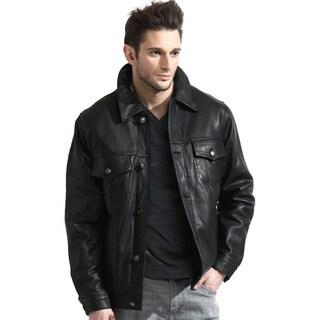 Men's Black Leather Jean Jacket