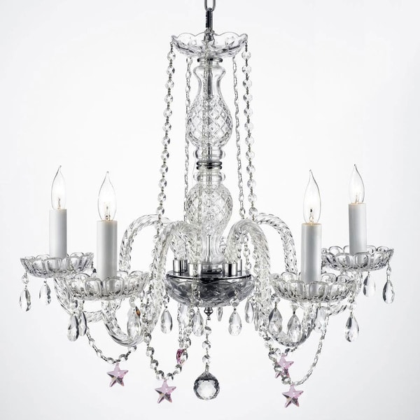 Pink Crystal Stars 5-light Chandelier