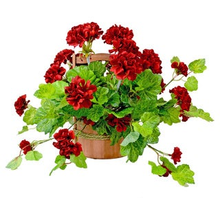 Rustic Red Geranium Floral Arrangement in Wooden Basket