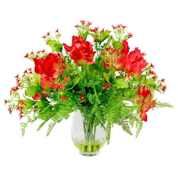 Red Parrot Tulip and Gypso Silk Floral Arrangement