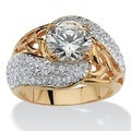 PalmBeach Classic CZ Gold Overlay 2.78ct Cubic Zirconia Twist and Branch Ring