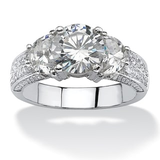 PalmBeach 2.48 TCW Round Cubic Zirconia Ring in Platinum over Sterling Silver Glam CZ