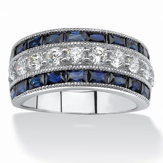 PalmBeach 5.60 TCW Emerald-Cut Sapphire and Round Cubic Zirconia Ring in Platinum over Sterling Silver Glam CZ