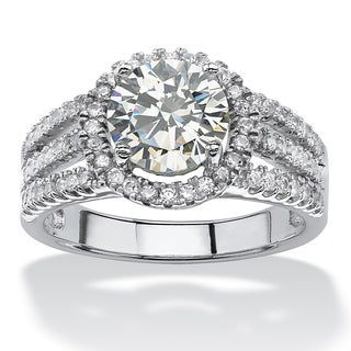 PalmBeach 2.53 TCW Round Cubic Zirconia Halo Ring in Platinum over Sterling Silver Glam CZ