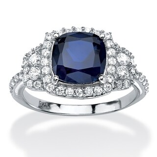 PalmBeach 1.36 TCW Cushion-Cut Sapphire Halo Ring in Platinum over Sterling Silver Glam CZ