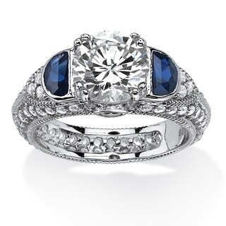 PalmBeach 3.20 TCW Cubic Zirconia and Lab Created Blue Sapphire Ring in Platinum Over .925 Sterling Silver Glam CZ