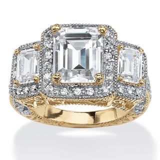 PalmBeach Glam CZ 14k Gold over Silver 5.12ct Emerald-cut Cubic Zirconia Halo Ring