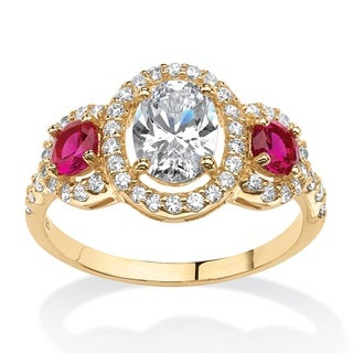 PalmBeach Glam CZ 14k Gold over Silver 2.39ct Floating Cubic Zirconia Halo Ring