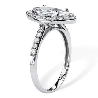PalmBeach 2.45 TCW Marquise-Cut Cubic Zirconia Halo Bridal Ring in 10k White Gold Classic CZ
