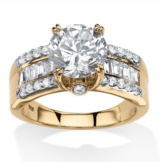 PalmBeach 18k Gold over Silver 4.31ct Cubic Zirconia Ring